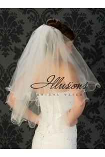 SALE Curly Edged Veil with Scattered Pearls