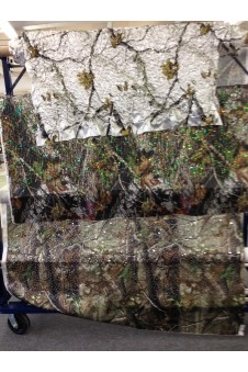Camo Puffed Sequin Satin Fabric